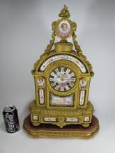 Jean-Baptiste Delettrez Sevres style Porcelain Mantel Clock