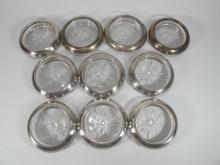 Frank M Whiting & Co set of 10 sterling & glass cup holders