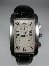 Cartier Tank model cronograph 18 kt gold men watch