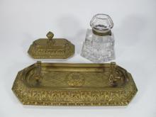 Antique bronze & glass desk set