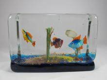 Vintage Italian murano fishes paperweight