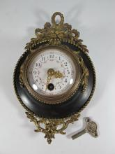 Antique French bronze wall clock