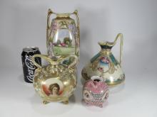 Nippon hand painted set of 4 porcelain vases
