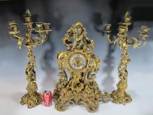 Huge antique Barbedienne quality bronze clock set