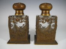 Baccarat style French pair of bronze & glass perfurm bottles