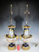Antique French Sevres pair of porcelain & bronze lamps