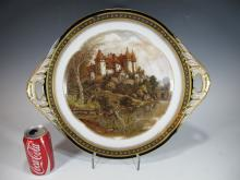 Antique French Sevres hand painted porcelain tray