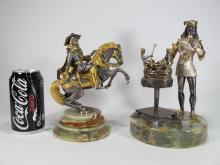 Italian pair of gilt bronze chess statues
