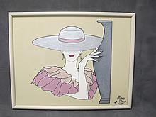 Painting on glass signed, dated 1986