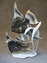 Antique Rosenthal porcelain fishes statue