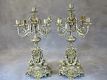 Antique pair of French bronze candelabras