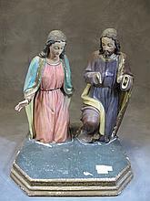 Antique European wood religious statue