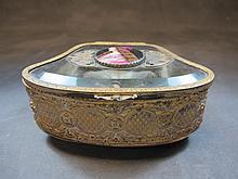 Antique French bronze & glass box