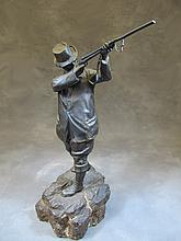 Antique French bronze & marble hunter