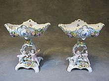 German Sitzendorf pair of porcelain centerpieces