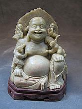 Old Chinese hard stone Buddha sculpture