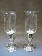 Pair of Wild Rose International sterling hurricane lamps