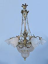 Antique French bronze & glass chandelier