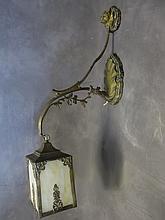 Antique bronze & glass wall lamp