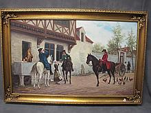 Old European oil on canvas painting, H. Wilkinsons