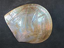 Old hand carved mother of pearl shell