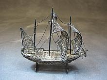 Probably Portuguese antique silver fillgree ship