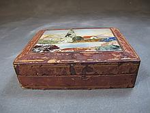Antique leather & pietradura box