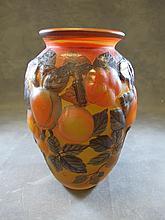 Modern overlaid glass vase, signed TIP
