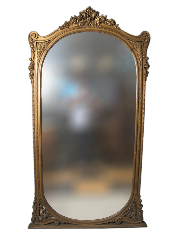 Huge French Style Rococo Gilded Carved Mirror