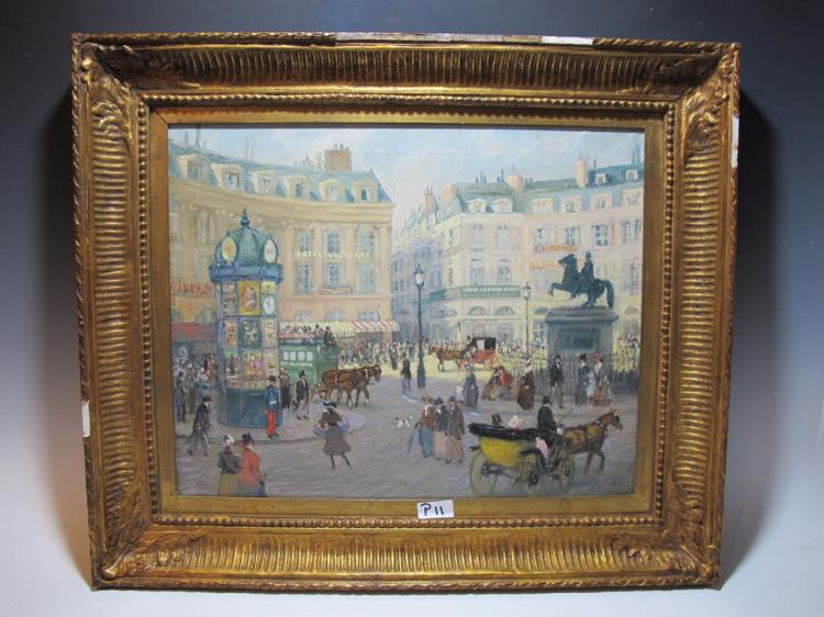 Antique French oil on canvas painting, signed