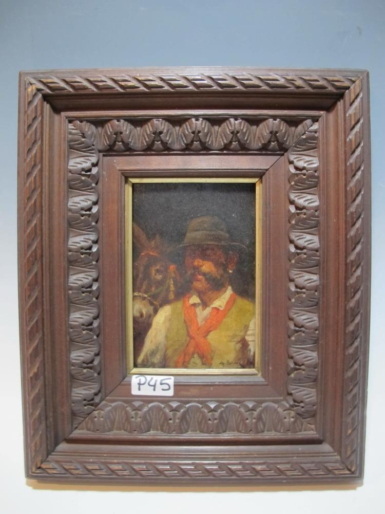 19th C Spanish artist oil on wood painting, signed