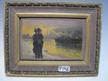 Early 20th C French oil on board painting