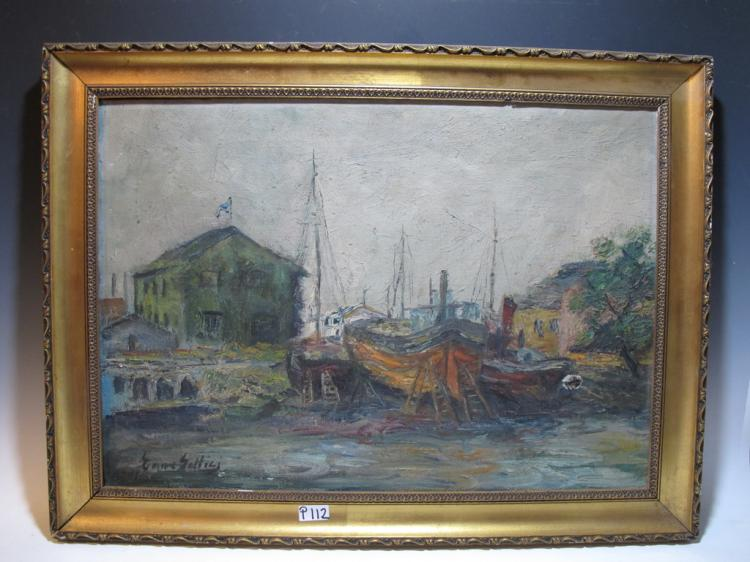 Antique European oil on canvas painting, signed
