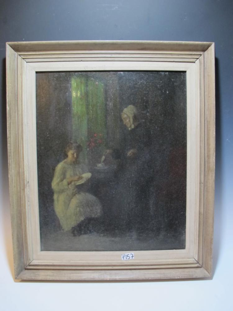 Antique oil on wood painting, signed SCHARF