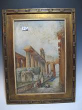 Antique Italian watercolor painting, unsigned