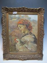 Early 20th C Italian oil on canvas painting, signed
