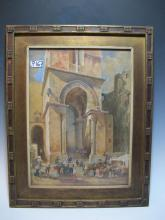 Early 20th C Italian watercolor painting, unsigned