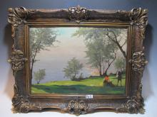 Early 20th C French oil on wood painting