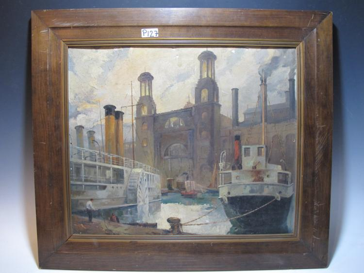 early 20th C European oil on canvas on board painting