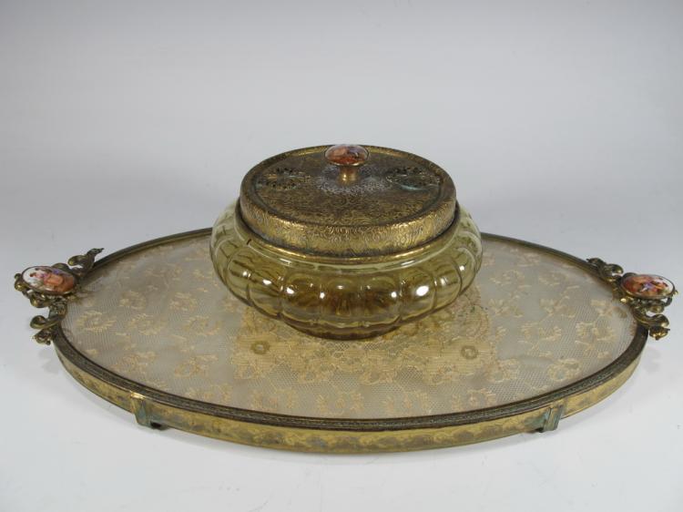 Vintage bronze, glass & embroidery vanity set