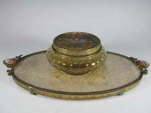 Vintage bronze, glass & embroidery vanity set