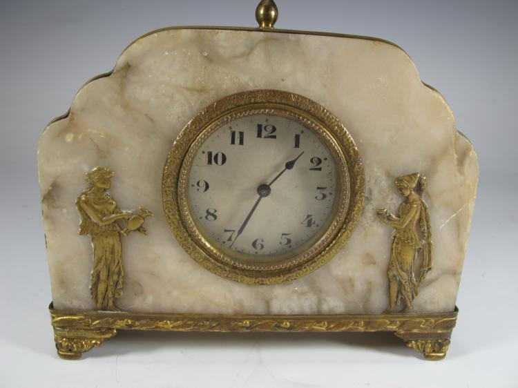 Antique bronze & alabaster clock