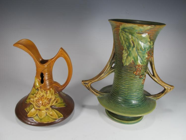 Vintage pair of Roseville ceramic vases