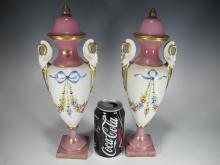 Antique pair of French hand painted porcelain urns