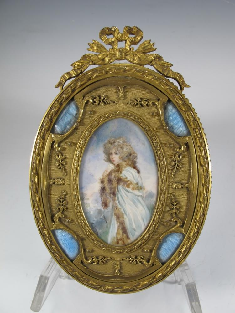 Antique French bronze & enamel miniature painting & mirror