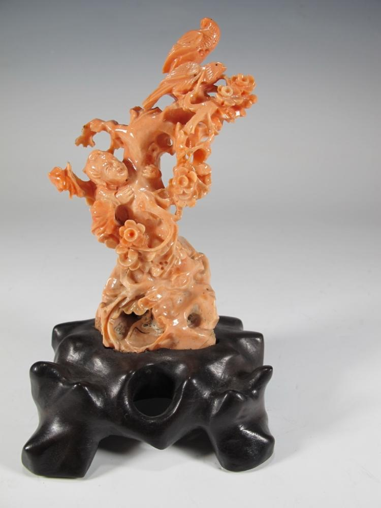Antique Chinese carved coral sculpture