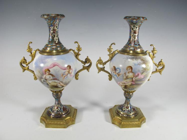 Antique pair of French bronze champleve & porcelain urns