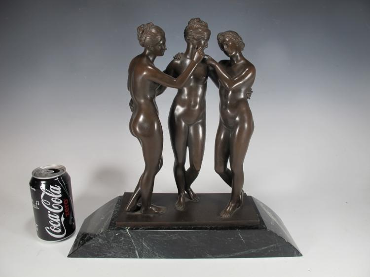 Carl KAUBA (1865-1922) The 3 Graces bronze sculpture