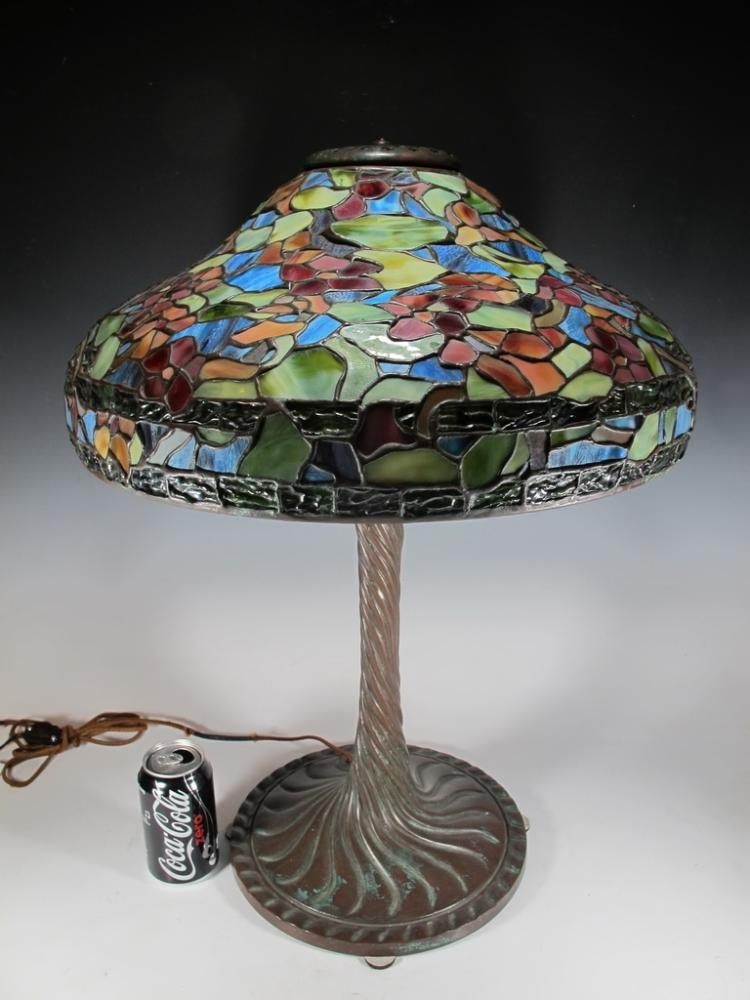 Signed Art Glass Studio slag glass table lamp