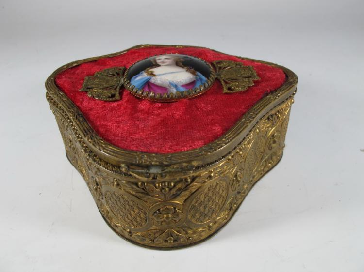 Antique French bronze & porcelain box